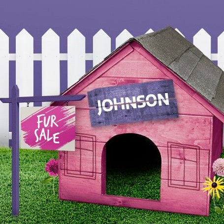 "A pink dog house for Johnson the Newfoundland dog, that has a ""FUR SALE"" sign out front."